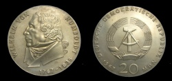 World Coins - Germany 1967 Democratic Republic  20 Mark, Wilhelm Von Humboldt, KM-18.1, BU