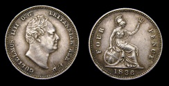 World Coins - 1836 Great Britain Four Pence (Groat) William IV S-3837 EF+