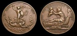 Ancient Coins - FRANCE. Louis XVIII (1814-1824) Bronze Medal commemorating the birth of Henri V on 29 September 1820. Gayrard, medalist.