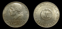 World Coins - Germany 1929-D Weimar Republic 3 Reichsmark, 200th Anniversary of Birth of Gotthold Lessing, XF/AU