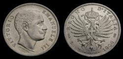World Coins - Italy 1906 Lira Rare in High Grade KM#32 AU+/UNC