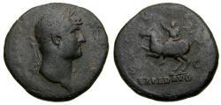 Ancient Coins - HADRIAN, A.D. 117-138, Æ Sestertius (34 mm, 23.66 gm., 6h), Rome Mint, Struck circa A.D. 124-128 Fine Emperor on Horseback Scarce