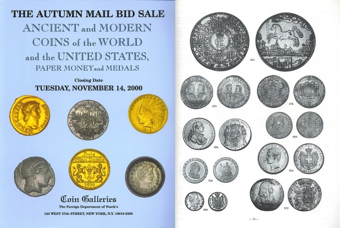 Ancient Coins - Stack's - Coin Galleries - Mail Bid Sale - November 14, 2000 - Extensive Errors Collection - Ancient and Modern Coins of the World and the United States, Paper Money and Medals