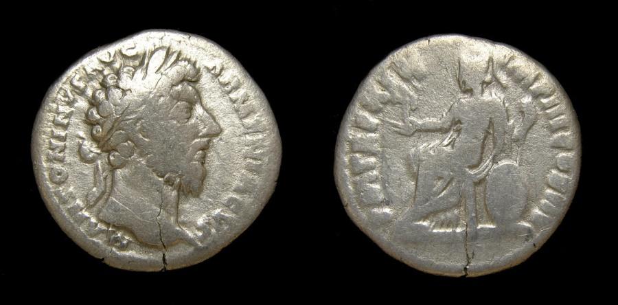 Ancient Coins - Marcus Aurelius, 161-180, AR Denarius (18mm, 2.76 gm., 6h), Rome MInt, 165 A.D. Fine