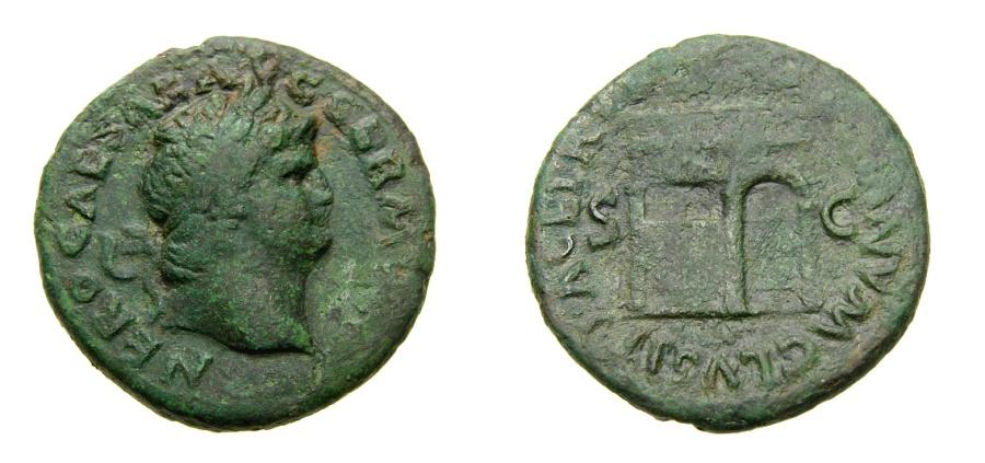 Ancient Coins - Nero, A.D. 54-68, Æ As (27 mm, 11.21 gm., 6h), Rome mint, Struck A.D. 62-68 aVF