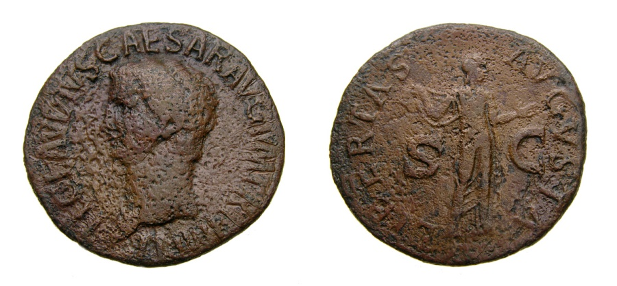 Ancient Coins - Claudius, A.D. 41-54, Æ As (28 mm, 8.12 gm., 7h), Rome mint, Struck A.D. 42-43 Fine