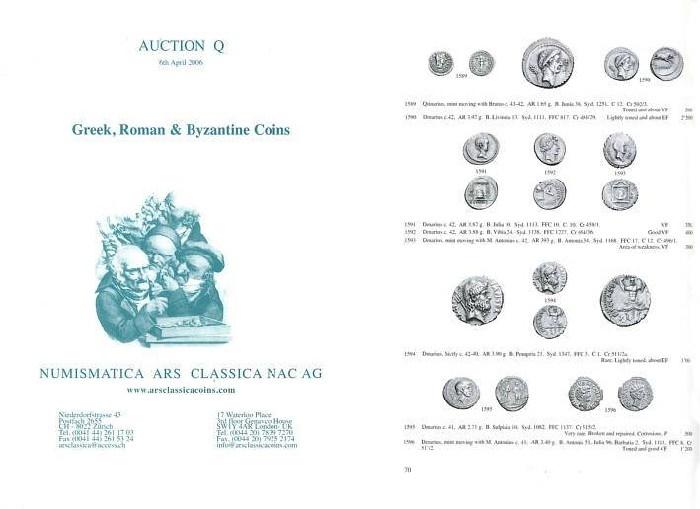 Ancient Coins - Numismatica Ars Classica (NAC) Auction Q - April 6, 2006 - Greek, Roman & Byzantine Coins