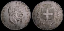 Ancient Coins - Italy 1873 BN 5 Lire .900 .7234 KM#8.3 Rare in High Grade EF++ 6354