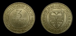 World Coins - GERMANY, 3 Mark, 1926-A, KM-48, 700 Years of Freedom for Lubeck, EF+
