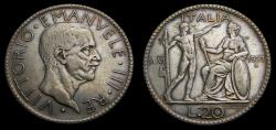 World Coins - Italy 1927 20 Lire KM#69 VF+ Rare
