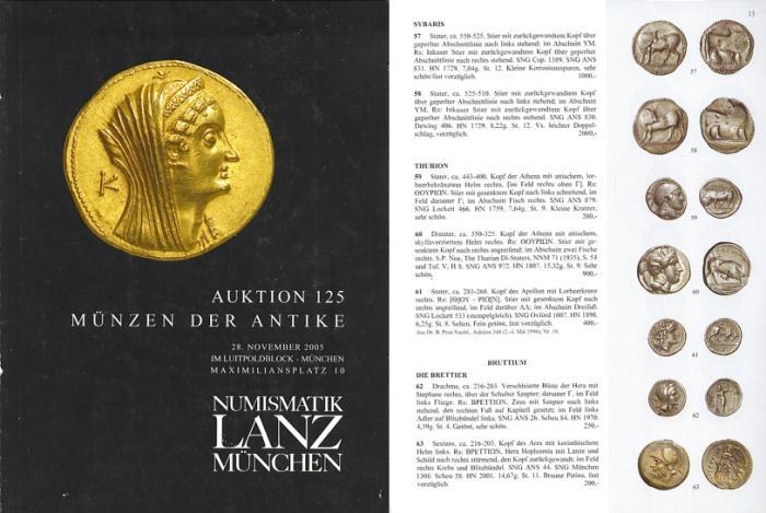Ancient Coins - Numismatik Lanz Auktion 125 - November 28, 2005 - Munzen der Antike - Lanz 125 Auction Catalogue - Ancient Greek, Roman and Byzantine Coins