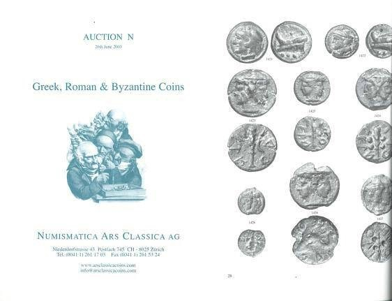 Ancient Coins - Numismatica Ars Classica (NAC) Auction N - June 26, 2003 - Greek, Roman & Byzantine Coins - Roman Republican Cast Bronzes and Silver Coins