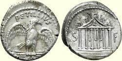 Ancient Coins - Roman Republic, PETILLIUS CAPITOLINUS, 41 BC, AR Denarius (17 mm, 4.14 g, 1h), Rome Mint VF Temple