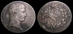 Ancient Coins - France 1806 I 5 Francs Napoleon Bonaparte Limoges Mint KM#633.6 VF 6363