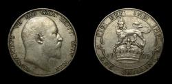 World Coins - Great Britain 1905 One Shilling King Edward VII, Very Low Mintage, Key Date in Series, Rim Nick Good VF++