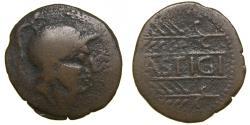Ancient Coins - SPAIN, Lastigi, Circa 150-100 BC, Æ Half Unit – Semis (25 mm, 5.60 g, 2h) F/VF