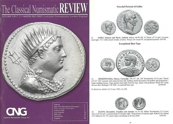 Ancient Coins - CNG - The Classical Numismatic Review - V. XXVI, 2 - Winter 2001-2002