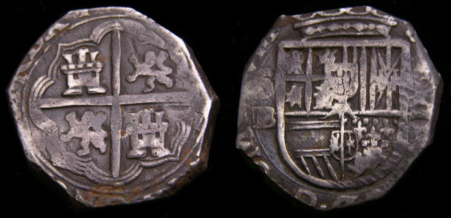 Ancient Coins - Bolivia Under Spanish Rule Philip III 1598-1621 Cob 2 Reales 6.79 g Potosi Mint Rare This Nice Good VF