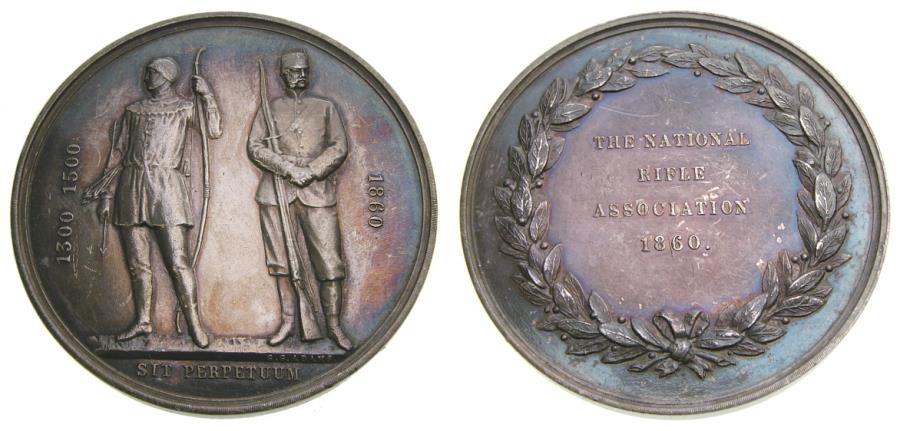 Ancient Coins - Great Britain, National Rifle Association Silver Award Medal (47 mm, 51.60 g., 12h) 1860 By George Gammon Adams AU++