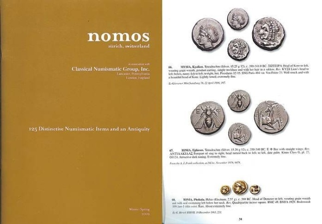 Ancient Coins - NOMOS AG in Association with Classical Numismatic Group - 125 Distinctive Numismatic Items - Greek, Roman, Byzantine and Medieval Coins Winter-Spring 2009