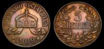 World Coins - German East Africa 1909-J, 5 Heller, KM#11, EF+