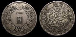 World Coins - JAPAN Mutsuhito Meiji Era, Year 28 1895 Silver 1 Yen Toned Good VF