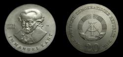 World Coins - Germany 1974 Democratic Republic 20 Mark, Imanuel Kant, KM-53, BU