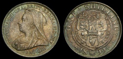 World Coins - Great Britain 1899, Silver Shilling, S-3940A, UNC