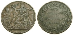 World Coins - BELGIUM, Leopold I, 1831-1865, King's 25th Anniversary, Bronze Medallic 5 Centiemen, 1856 (28 mm, 9.52 gm., 6h) Fine Rare