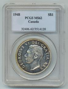 Ancient Coins - CANADA, George VI, 1936-1952, Silver Dollar 1948 - Voyageur Scene Key Date RARE PCGS Graded MS-62 Rotated Dies