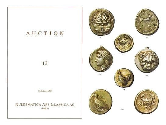 Ancient Coins - Numismatica Ars Classica (NAC) Auction 13 - 8th October, 1998 - Greek Coins of Magna Graecia and Sicily ex Collection Antikenmuseum Basel und Sammlung Ludwig Exceptional Catalogue