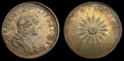 """Ancient Coins - Great Britain c.1689 William & Mary Silver Medallic Token """"Tribute to William"""" Rare Eimer 319 Toned EF."""