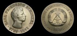 World Coins - Germany 1966 Democratic Republic 10 Mark, Karl Friedrich Schinkel, KM-15.1, UNC, Very Rare