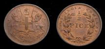 World Coins - British India 1853  1/2 Pice KM #464 Mint State