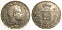 World Coins - PORTUGAL 1893 Silver 500 Reis Carlos I AU+ Choice Toning