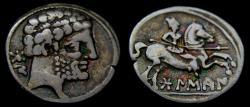 Ancient Coins - SPAIN, Bolskan (Osca), Circa 150-100 BC. AR Denarius (18 mm, 3.93 gm., 12h) Toned VF