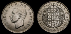 World Coins - New Zealand 1945 Half Crown KM#11 BU .500 Silver Only 420,000 Minted