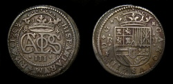 World Coins - Spain 1708, 2 Reales, Charles III (1701-14) Archduke (Charles VI, of Germany), Scarce this Nice - Good VF/EF
