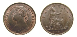 World Coins - Great Britain 1887 Farthing S-3958 AU+