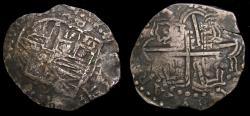 Ancient Coins - Spanish Colonial Potosi Bolivia Philip IV 1621-65 Silver Cob 8 Reales (26.20 gm) KM#19 Toned VF+ 6368