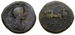 Ancient Coins - Commodus as Caesar, 166-176 AD, Æ Sestertius (32 mm, 26.16 gm., 11h) Fine Quadriga Rare