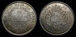 World Coins - Bolivia 1872 Boliviano Potosi Mint PTS FE .900 Silver .7234 OZ ASW KM# 155.4 BU