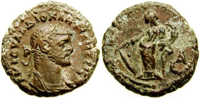 Ancient Coins - Egypt, Alexandria, Diocletian A.D. 284-305. Potin tetradrachm (19 mm, 7.36 gm.). LA Year 1 (A.D. 284/5), Tyche, EF, Brown Patina, Scarce First Year of Reign