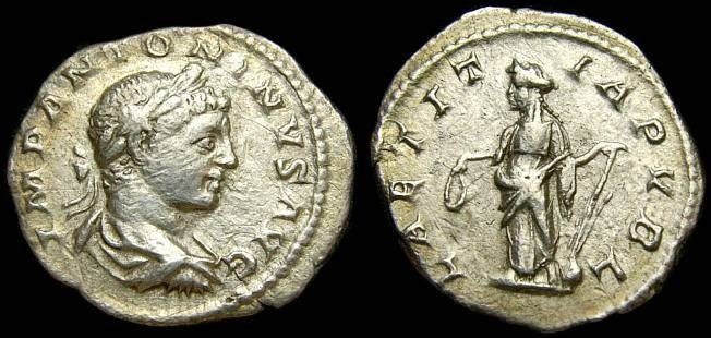 Ancient Coins - ELAGABALUS, 218-222 A.D. AR Denarius (19 mm, 2.38 gm., 11h), Struck 219-220 A.D. VF/Good VF Laetitia