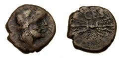 Ancient Coins - SPAIN, Carteia, Circa 150-100 B.C. Æ Semis (18 mm, 6.45 gm., 6h) aVF Very Rare