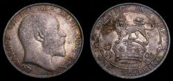 World Coins - Great Britain 1902 Silver Shilling S-3982 Toned EF