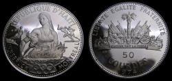 Ancient Coins - Haiti 1974 50 Gourdes 1976 Olympics .935 .4981 KM#113.2 PROOF 6353