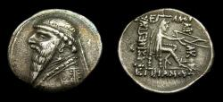 Ancient Coins - KINGS of PARTHIA, Mithradates II, 121-91 B.C. AR Drachm (20 mm, 3.97 gm., 12h), Ekbatana mint, Struck circa 120/19-109 B.C. VF