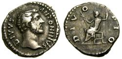 Ancient Coins - Divus Antoninus Pius, Died A.D. 161,. AR Denarius (19 mm, 3.21 gm., 5h), Rome mint, Struck under Marcus Aurelius and Lucius Verus, circa A.D. 161 VF