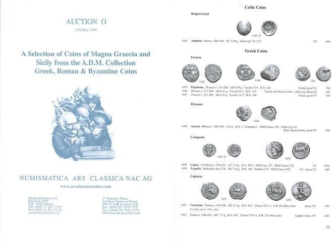 Ancient Coins - Numismatica Ars Classica (NAC) Auction O - May 13, 2004 - A Selection of Coins of Magna Graecia and Sicily from the A.D.M. Collection - Greek, Roman & Byzantine Coins